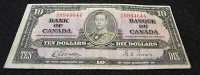 1937 Bank of Canada 10 Dollar Note in F Condition NICE OLD Collectible Note!