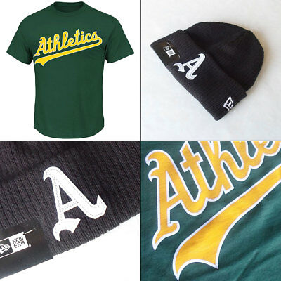 Oakland Athletics Licenced Youth Logo T Shirt Small PLUS Knit Hat