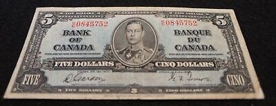 1937 Bank of Canada 5 Dollar Note in VG Condition NICE OLD Collectible Note!