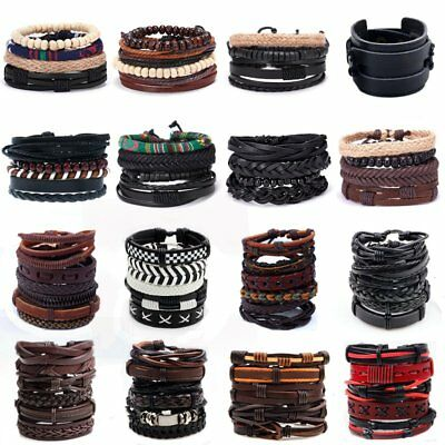Men Women Handmade Genuine Leather Bracelet Braided Bangle Wristband Set Gift
