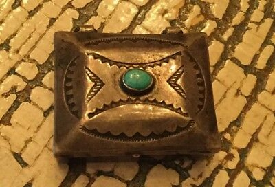 Vintage Sterling Turquoise Pill Box Unmarked