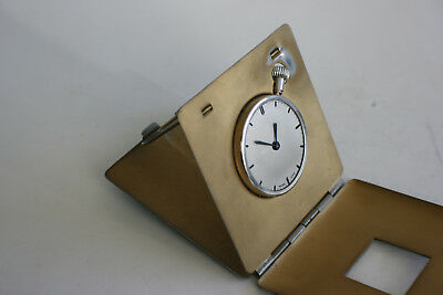 Vintage Brass Metal Case Folding Pocket Travel Watch Clock - Swiss - Working