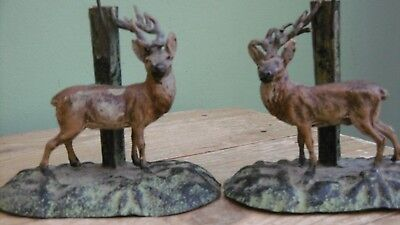 SUPERB Pr 19thc SPELTER STAGS WITH ORIGINAL GLASS EPERGNES