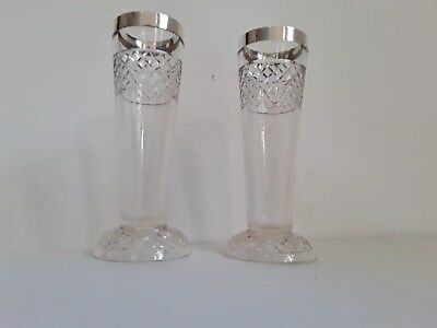 Art Deco pair of tall, Hallmarked Silver Rimmed Stem Vases, Chester 1911