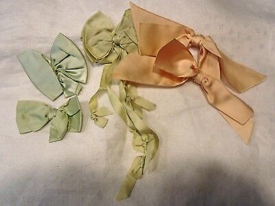 Lot Of 5 Antique Victorian Silk Ribbon Bows From Garments.