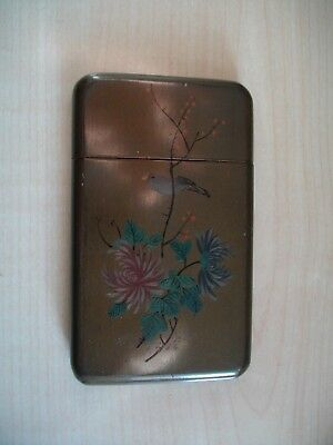 An Oriental Hand Painted Woodenware Card Case