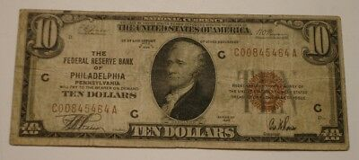 1929 $10 Ten Dollar NATIONAL CURRENCY Bank Note Brown Seal PHILADELPHIA Penn
