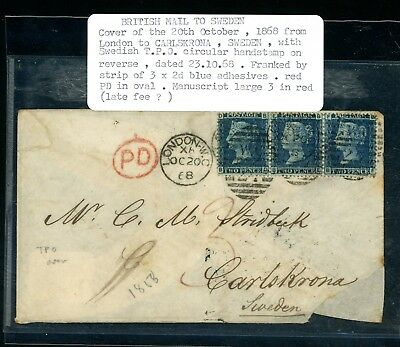 1868  Cover London to Carleskrona, Sweden  3 x 2d Blue  Faults     (N1258)