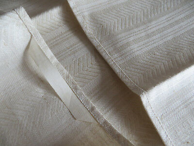 """Unused Set of 2 ( two ) Linen Stripes + Fishbone Towels Runners  17"""" by 38 """""""