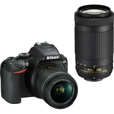 Nikon D3500 24.2MP DSLR Camera with 18-55mm & 70-300mm Lenses USA WARRANTY