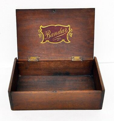 Beautiful Antique Wooden Bandar Cigar Box with Hinged Lid. Lots of Character.