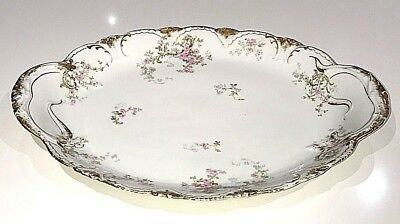 "Antique Theodore Haviland Limoges France Pink Roses 16 1/2"" Large Turkey Platter"