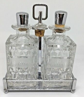RARE Fostoria American Americana Orange Bitters Bottles Chrome Stand Crystal
