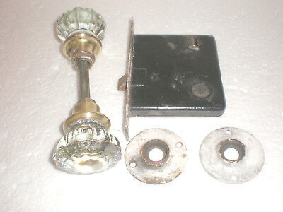 Antique Set 12~Point Glass/crystal Rosette Door Knobs~Lockset~Back/striker Plate