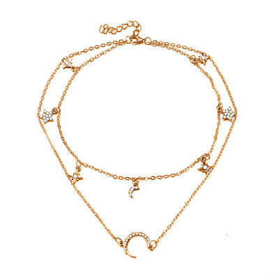 Multilayer Chain Choker Necklace Women Crystal Pentagram Star Moon Jewelry LD