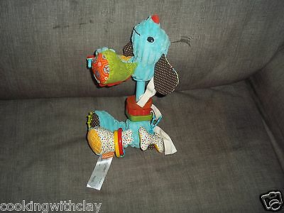 Infantino Baby Blue Corduroy Dog Wooden Toy Rattler Can Attach To Seats/Carriers