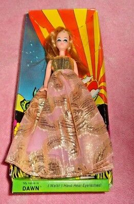 Vtg Topper Dawn Doll With Box With Fancy Gold Evening Dress