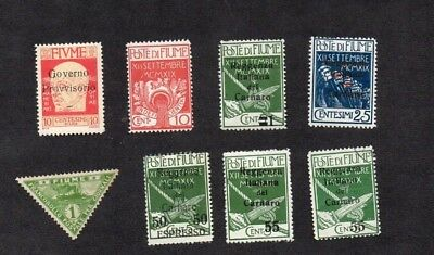 FIUME.1920-4.8x STAMPS (7x DIFFERENT).BALANCE OF A COLLECTION. M.H/GU MIX.