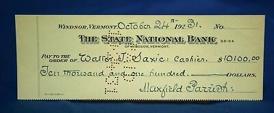 Authentic Maxfield Parrish Signed Bank Check , 10/24/1931, Illustrator, $10,100.