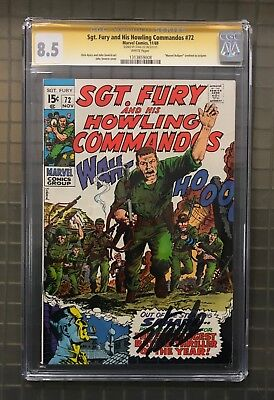 Stan Lee Signed SGT. FURY & HIS HOWLING COMMANDOS #72 AUTO Marvel 1969 CGC 8.5