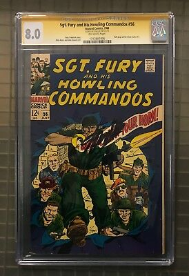 Stan Lee Signed SGT. FURY & HIS HOWLING COMMANDOS #56 AUTO Marvel 1968 CGC 8.0