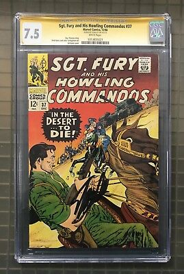 Stan Lee Signed SGT. FURY & HIS HOWLING COMMANDOS #37 AUTO Marvel 1966 CGC 7.5