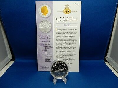 2002 East Caribbean States Golden Jubilee Summer Party $10 Proof Silver Coin