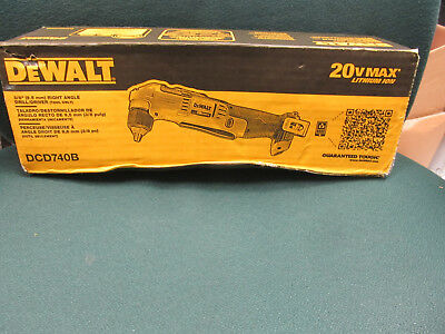 """New Dewalt Dcd740B 20V Max Lithium Ion Right Angle 3/8"""" Drill Cordless Tool Only"""