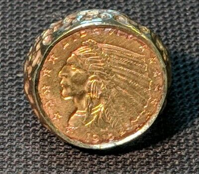 14K Gold Men's Ring with 1912 Liberty Indian Head $2 1/2 Coin  nugget ring
