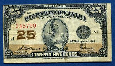 1923 Dominion of Canada 25 cent- fractional currency, type 2  (KM11)