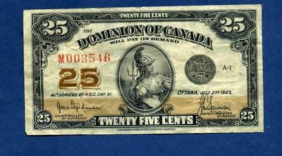 1923 Dominion of Canada 25 cent- fractional currency, type 1 (KM10)