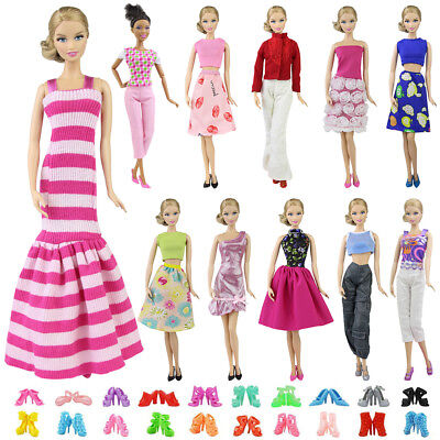 5Sets Dress Clothes Shirt & Pants 5 Pairs Shoes Accessories for 11.5 inch Doll