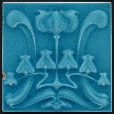 TH3564 Rare Turquoise Art Nouveau Majolica Tile Alfred Meakin Rd.1904
