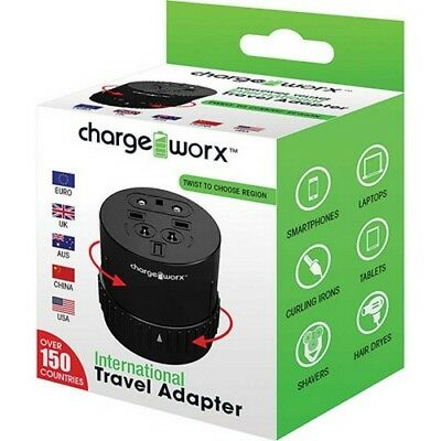 Charge Worx International Travel Adapter Universal Power Outlet Plug NEW!