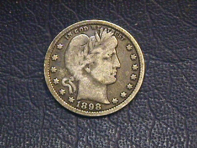 1898-P Barber Quarter In Very Good Condition. Free Shipping.