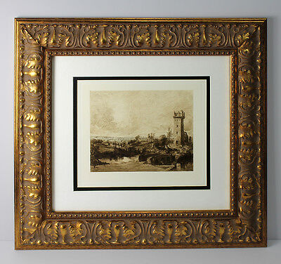 "Great 1800s Peter Paul RUBENS Etching ""Tower of the Castle of Steen"" Framed COA"