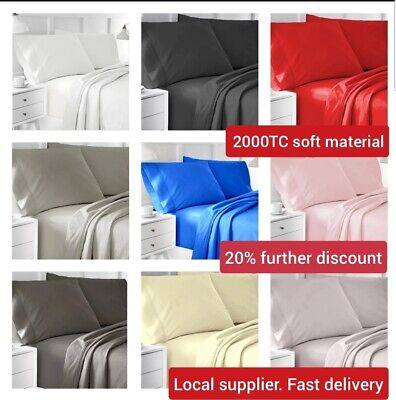 1000TC SOFT Flat & Fitted Bed Sheet Set Single/Double/Queen/King bed 4 Pcs New