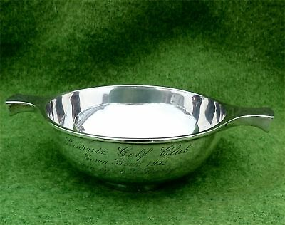 SILVER QUAICHE BY MAPPIN & WEBB - BIARRITZ GOLF CLUB PRIZE DATED 1921 - 4.13 ozt