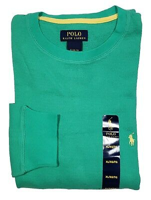 Polo Ralph Lauren Men's Green Waffle Thermal Crew-Neck Long Sleeve T-Shirt