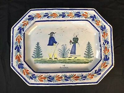 "HB Quimper 1895 Polychrome Painted Ceramic Serving Platter Faience 15"" X 12"""