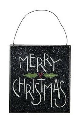 Black Primitive Wood Ornament Sign~MERRY CHRISTMAS WITH HOLLY~Tree/Wreath/Plaque