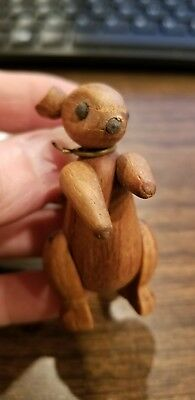 """Vintage Primitive 2"""" Wooden Hand Carved SQUIRREL Jointed Nail Eyes Figure"""