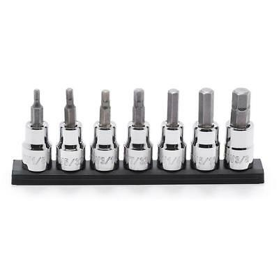 Husky 3/8 in. Drive SAE Hex Bit Socket Set (7-Piece) with Rail
