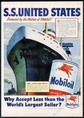 1952 SS United States ship great color art Mobil Oil vintage print ad