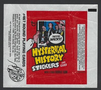 1976 TOPPS HYSTERICAL HISTORY STICKERS GUM WRAPPER(#467 Round Playing cards)
