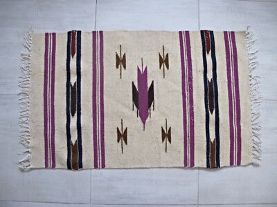 Vintage Native American hand woven wool Southwest Rug  Looks Unused