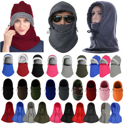 Men Womens Winter Fleece Balaclava Hats Warm Snow Ski Neck Face Mask Hood  Caps 59df727db029