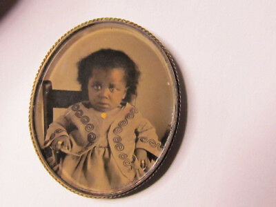 1860's oval cute little African American girl brooch oval tintype photograph