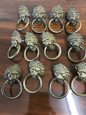 12 Antique Lion head Drawer Pulls Antique Brass