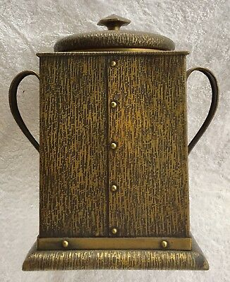 Nice Quality Vintage Arts & Crafts Mission Dark Brass Bark Grain Tobacco Humidor